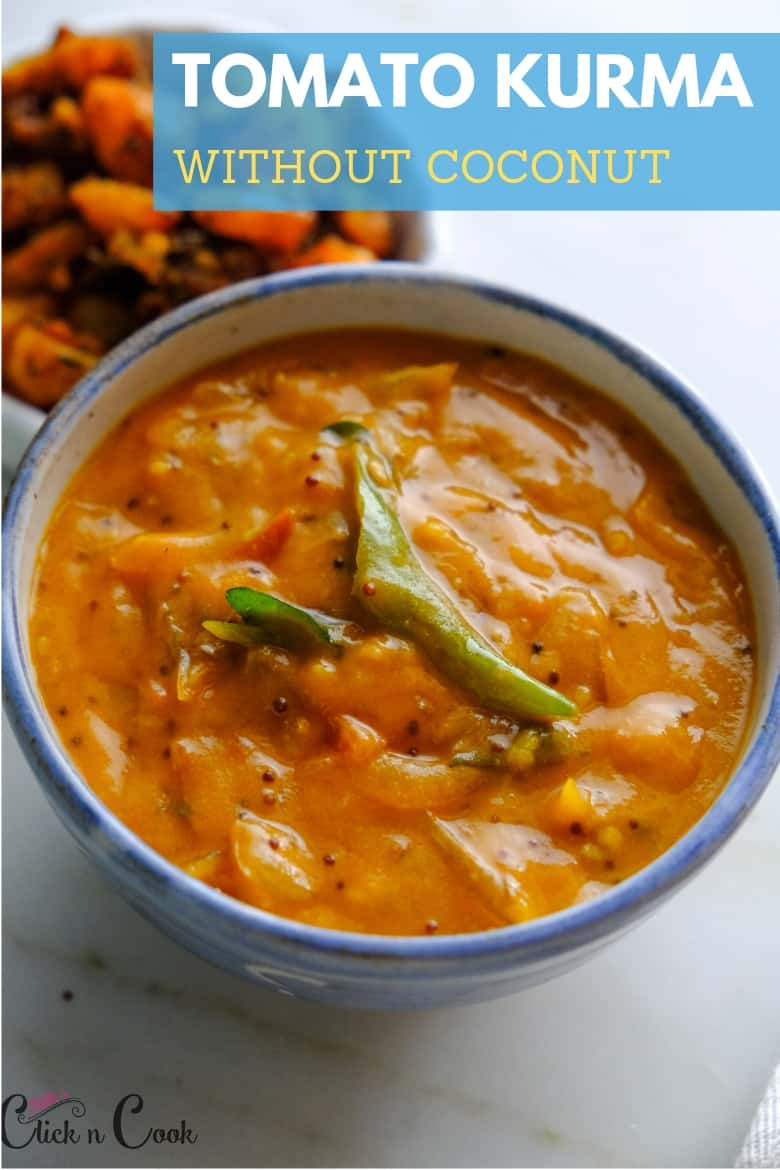 Tomato kurma without coconut is served in small bowl seasoned with greenchilli and mustard seeds