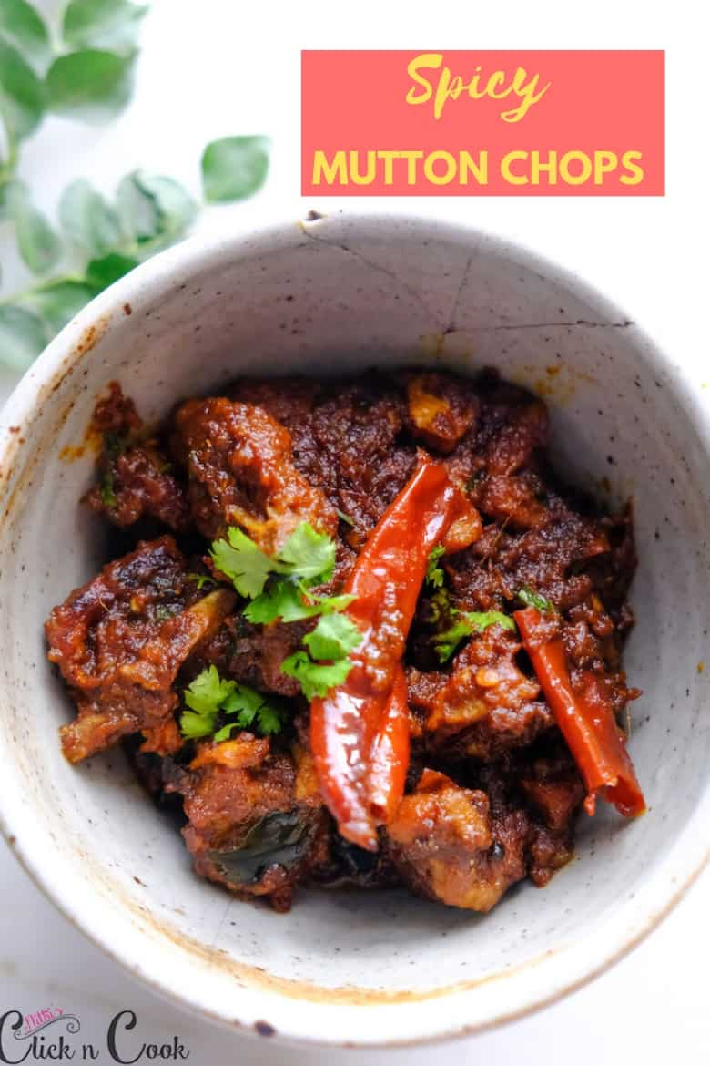 Easy mutton chops recipe sprinkled with coriander leaves on top served in bowl
