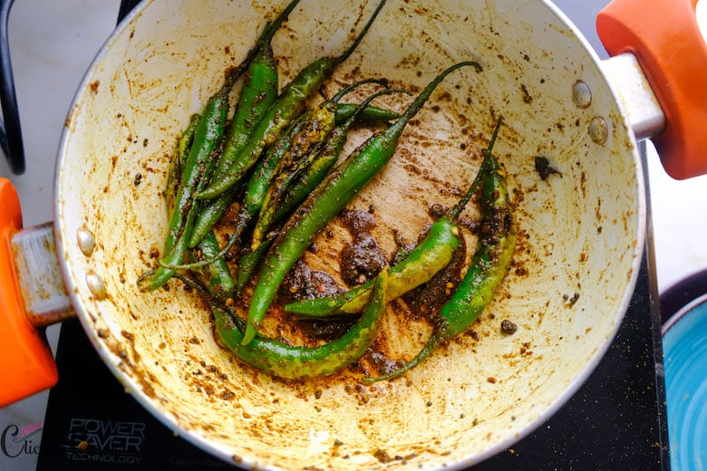 Spice masala has been well coated in saute pan