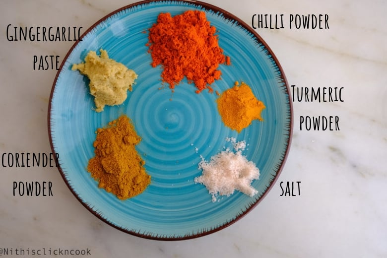 spice powders are taken in small plate