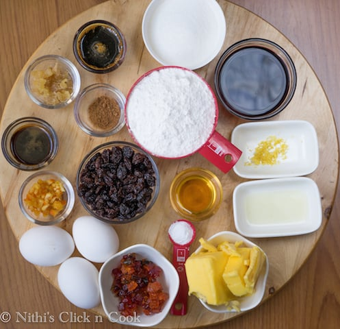 These are the ingredients for plum cake