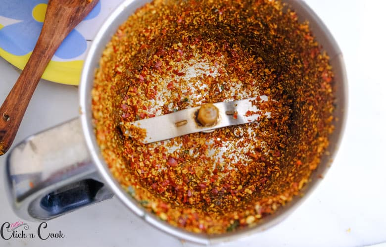 spices powder are in blender