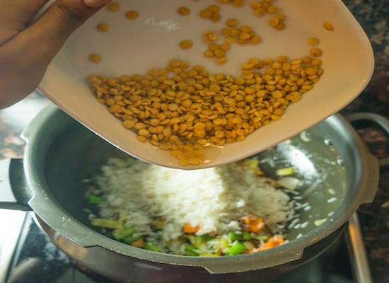 Add 3/4th cup of toor dal