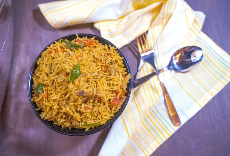 Tomato Rice | South Indian Style Rice with Step By Step Photos