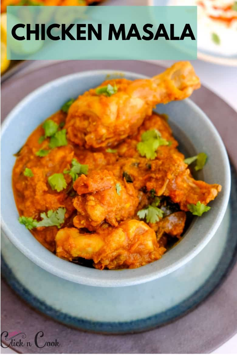Chicken Masala gravy is sprinkled with coriender leaves, served in bowl