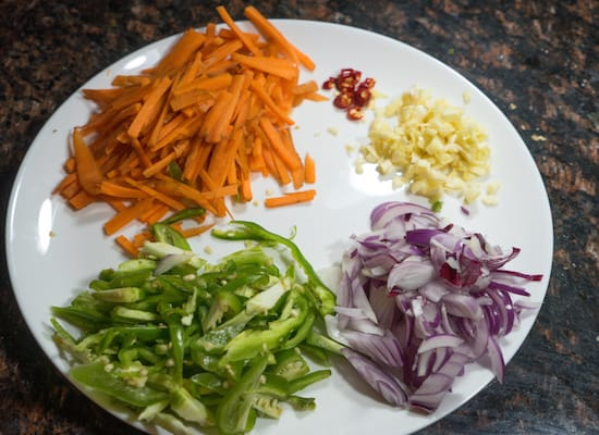 These all the veggies I'm gonna add in the fried rice. Keep them ready because we are going to cook the fried rice in high flame throughout the entire process.