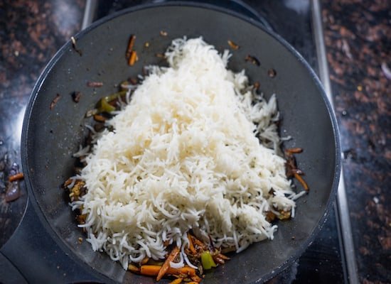 I had taken 1 cup of basmati rice added 1 spoon of oil while cooking the basmati.