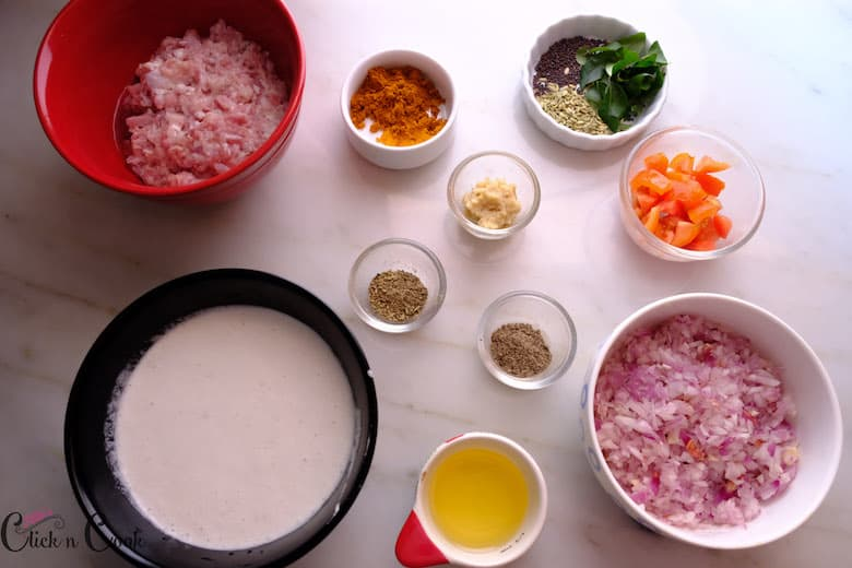ingredients to make kari dosa is taken in small bowls
