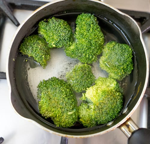 Blanch the chopped broccoli for 2 to 3 mins