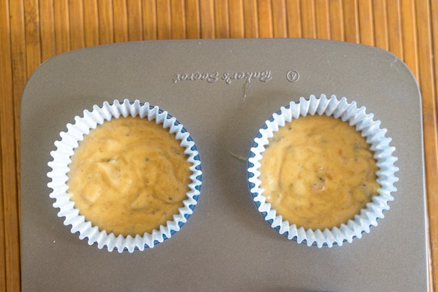 pudding mixture is filled in cupcake liner and placed in baking tray