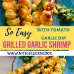 Grilled garlic shrimp in skewers served with tomato garlic dip