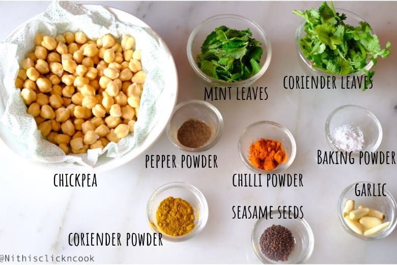 Ingredients to make falafel are displayed in small bowl