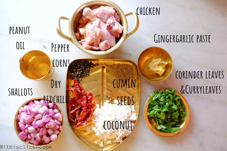ingredients to make shallot chicken roast are taken small brass cups