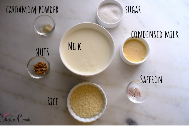 ingredients to make rice kheer is taken in small glass bowls