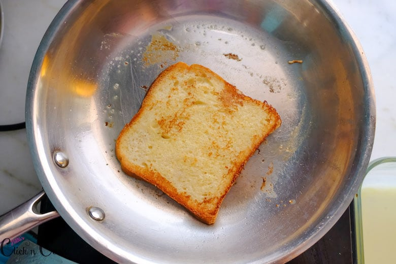 Classic French toast is toasted to a golden colour
