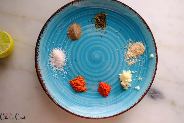 spices are taken in small plate