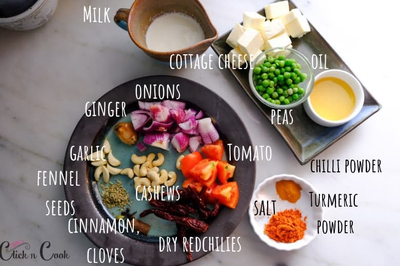 Ingredients to make matar paneer is taken in small plates
