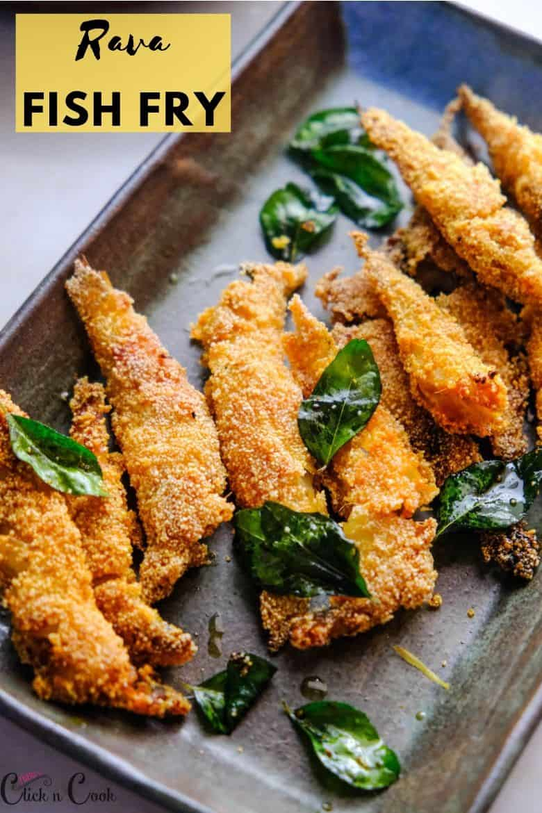rava fish fry served in plate with curry leaves on top