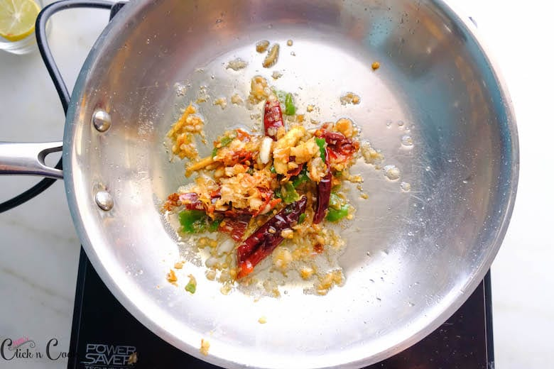 crushed chillies are in saute pan