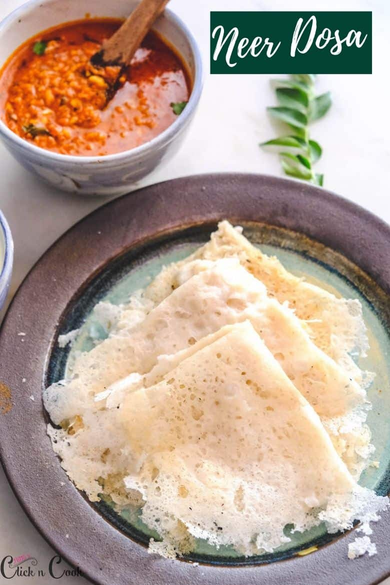 Neer Dosa served in plate with bowl of garlic chutney aside