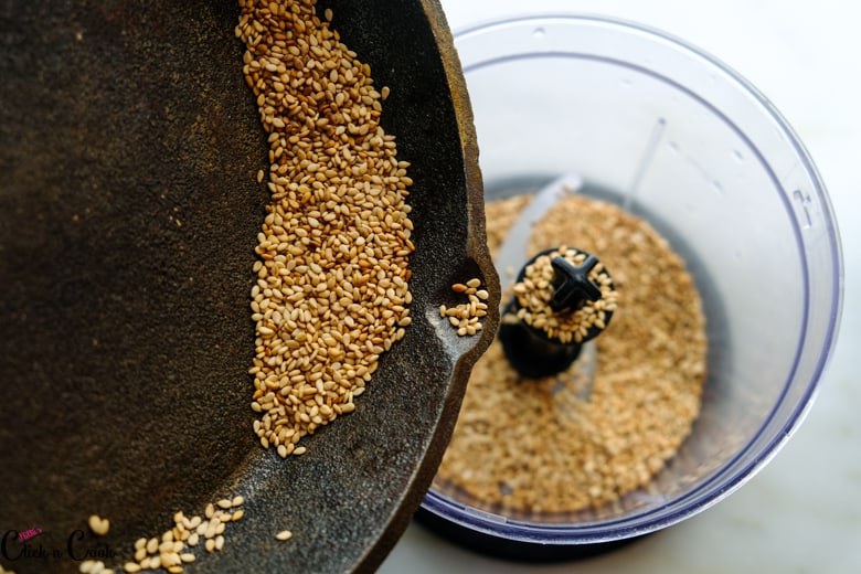 seasame seeds added to food processor
