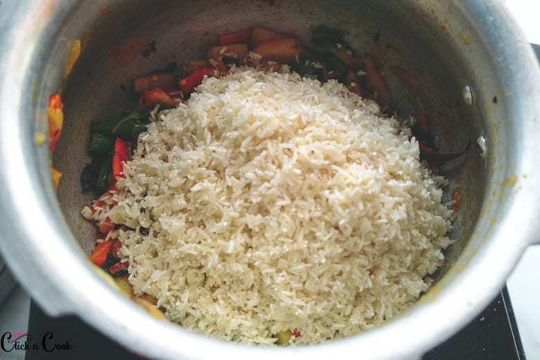 Rice along with vegetable in pot