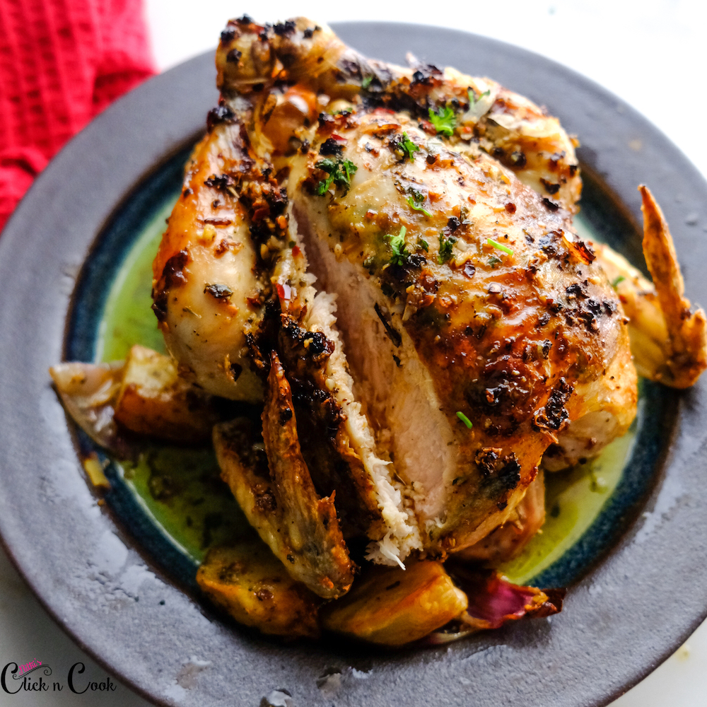 roasted chicken recipe is on the plate