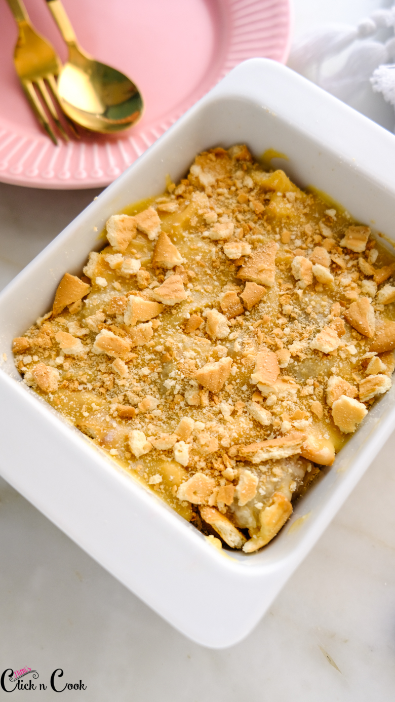 close up shot of banana Pudding recipe