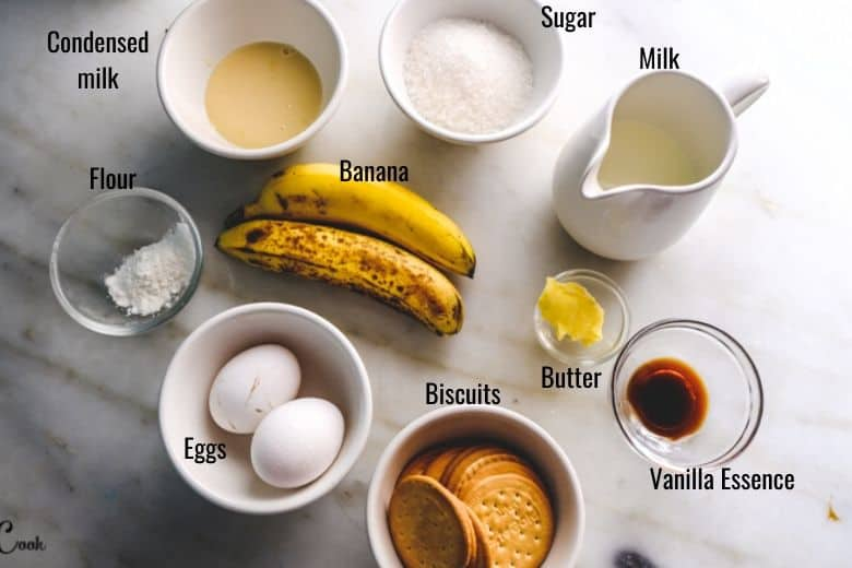 ingredients to make Easy banana pudding are taken