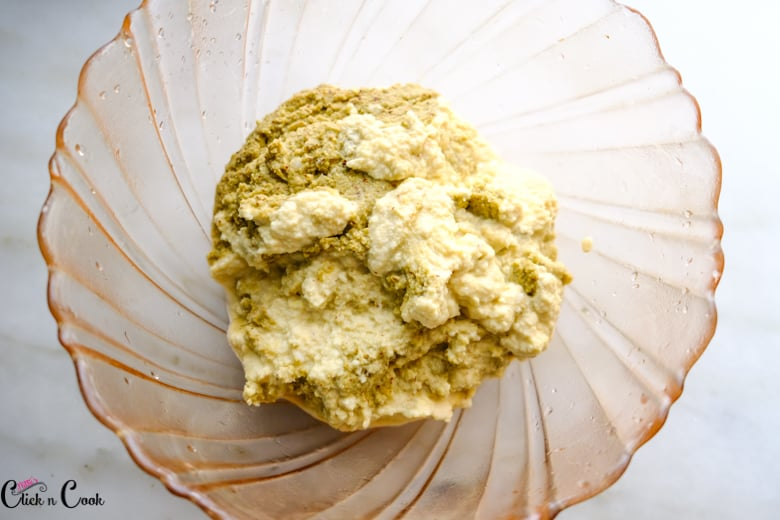 adai batter is in glass bowl