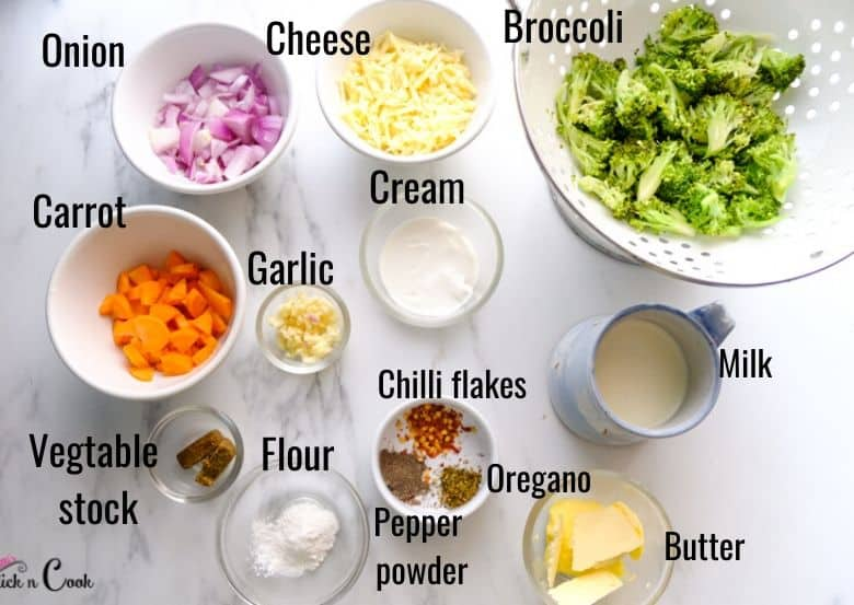 ingredients to make broccoli cheddar soup are taken in small bowls