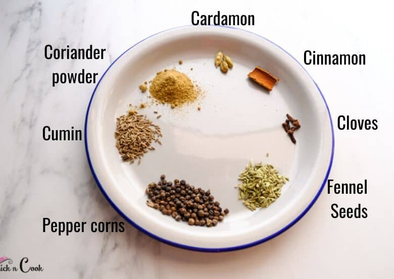 spices are in small plate