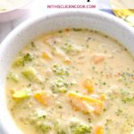 broccoli cheddar soup served in bowl