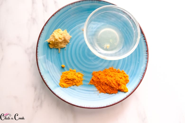 spices are taken in blue plate