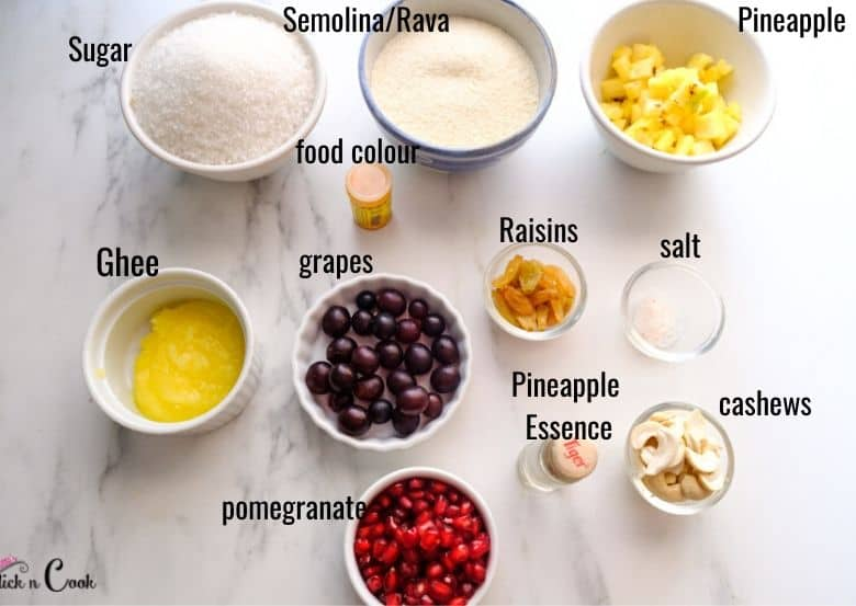 ingredients to make suji halwa