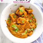 chicken curry served in white bowl
