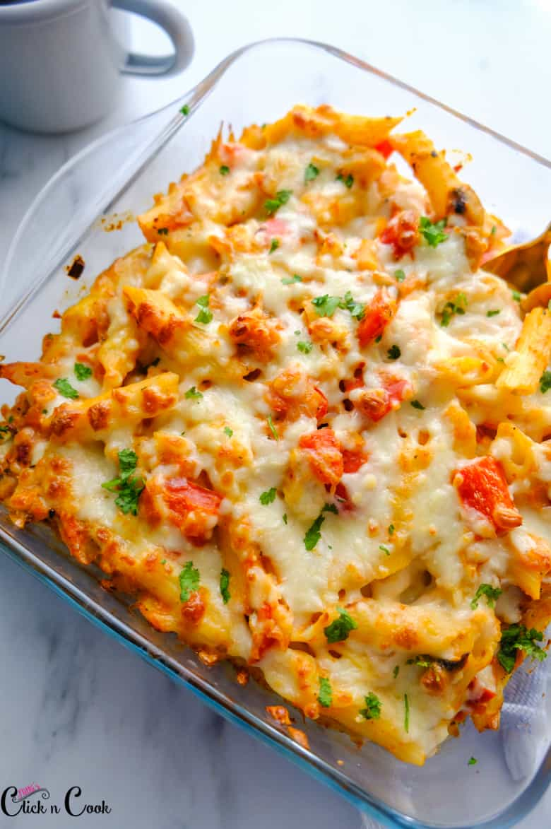 baked ziti recipe served in glass baking tray