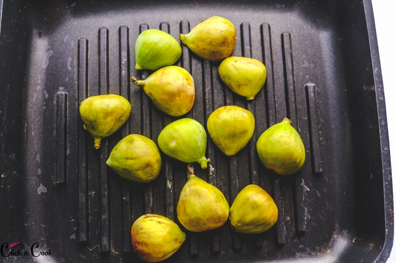 sliced figs is being grilled