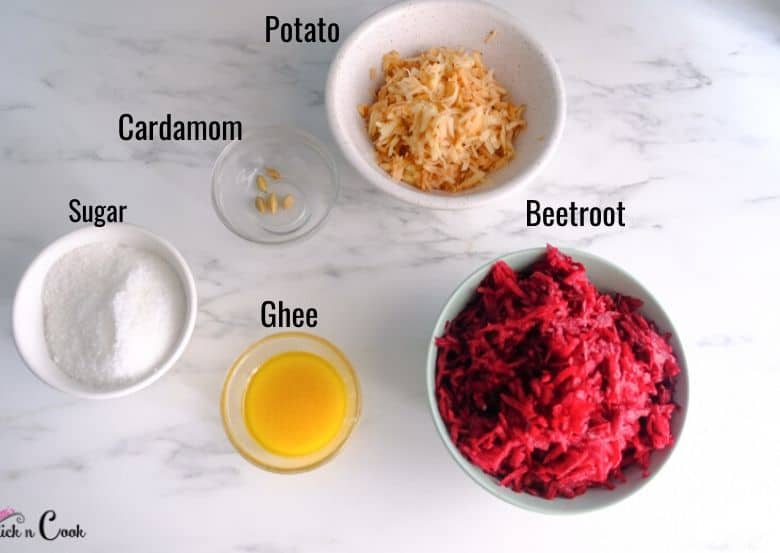 grated beetroot, grated potato, ghee, sugar, cardamom are taken in small glass bowls