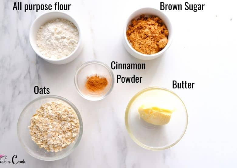 flour, brown sugar and oats are taken in small bowls