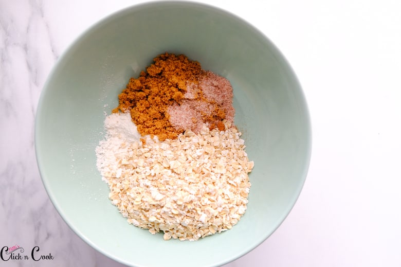 brown sugar, oats are in green bowl