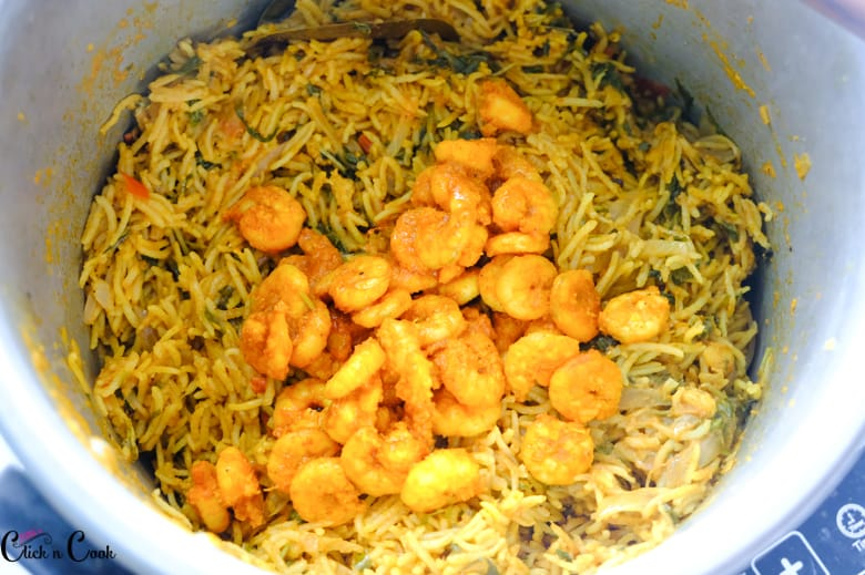 prawns are in the biryani in pot