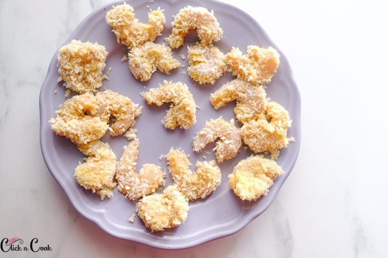 coated breadcrumbs are in grey plate