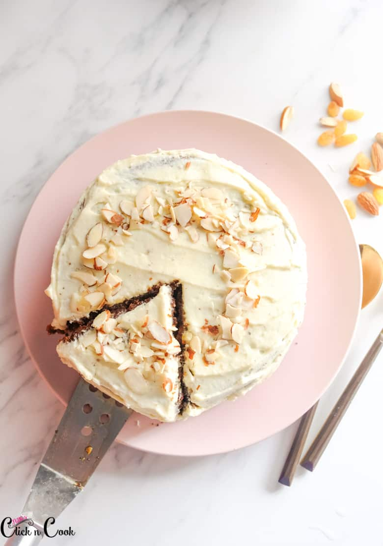 the best carrot cake recipe served on the pink plate