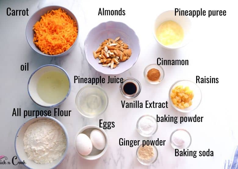 carrot cake ingredients are taken in small bowl