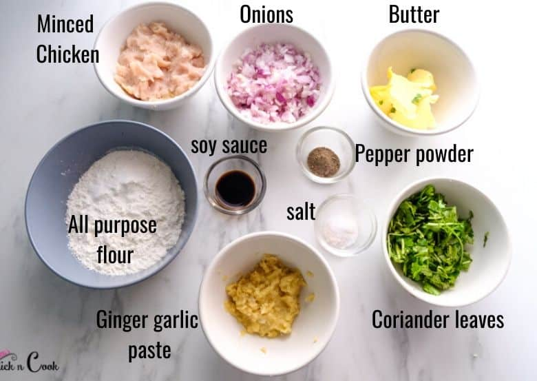 chopped onion, flour, butter and spices are taken in bowl