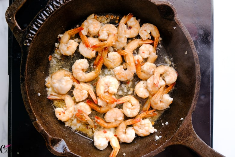 prawns are cooked in skillet