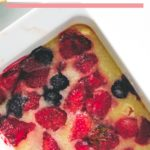 strawberry cobbler served in white baking tray
