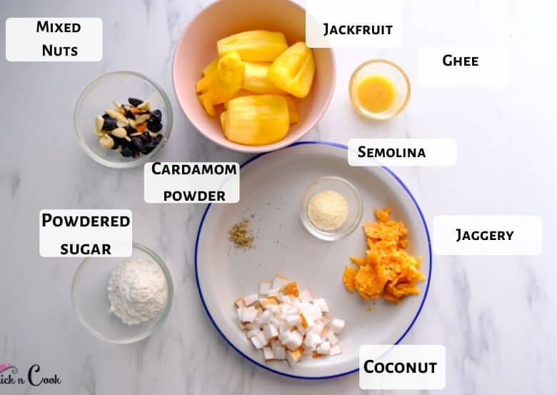jackfruit , coconut, powdered sugar are taken in plates and bowl