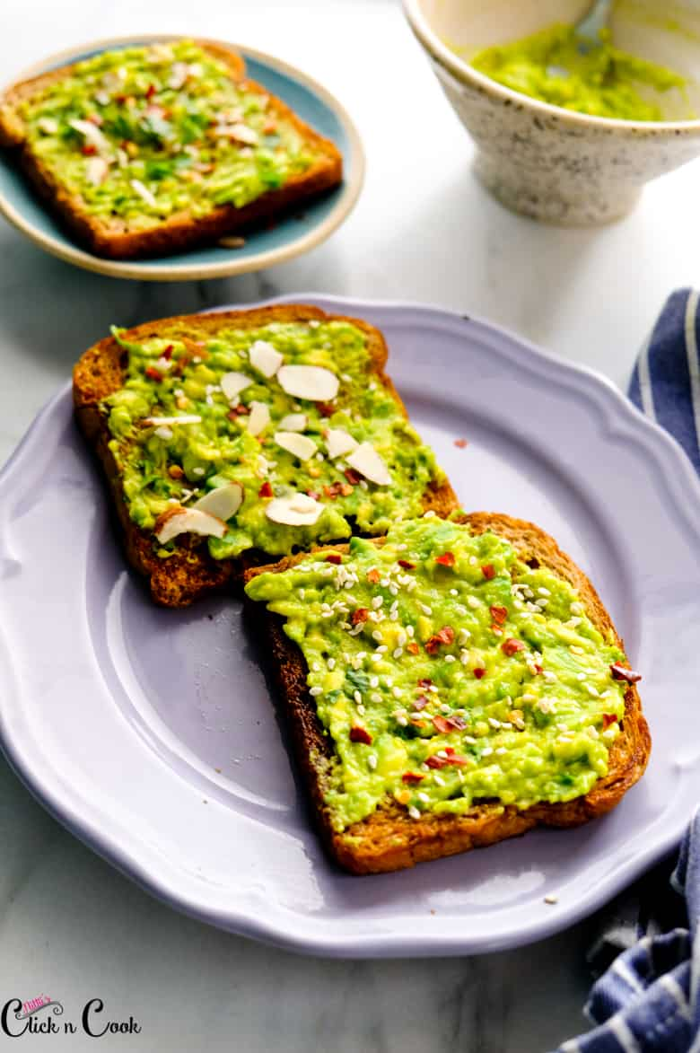 avocado toast on the grey plate
